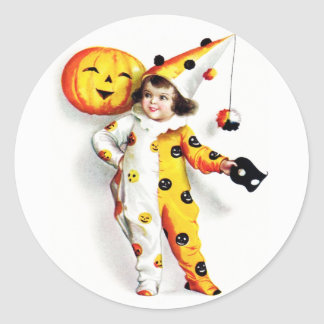 Ellen H. Clapsaddle: Little Halloween Harlequin Classic Round Sticker