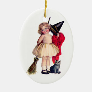 Ellen H. Clapsaddle: Little Witch with Cat Ceramic Ornament