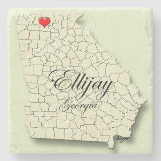 Ellijay, Georgia, Heart Map Coasters, Love Ellijay Stone Coaster