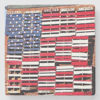 Ellijay, Georgia, Rustic American Flag Art Stone Coaster