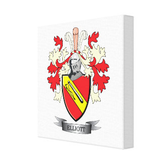 Elliott Family Crest Coat of Arms Canvas Print