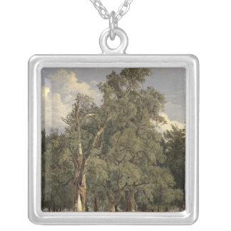 Elm trees in Prater, 1831 Silver Plated Necklace