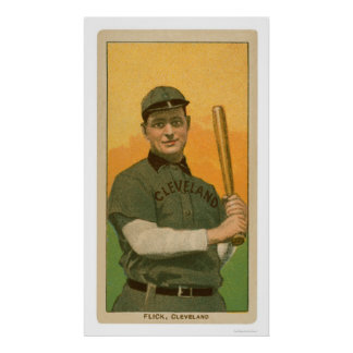 Elmer Flick Baseball Card 1909 Poster