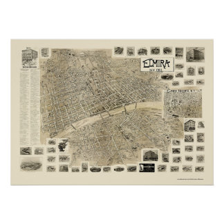 Elmira, NY Panoramic Map - 1901 Poster