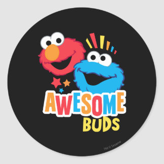 Elmo and Cookie Awesome Buds Classic Round Sticker