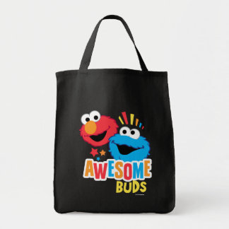 Elmo and Cookie Awesome Buds Grocery Tote Bag