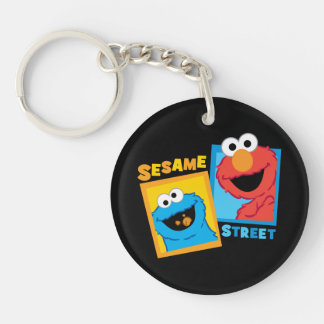 Elmo and Cookie Monster Friends Double-Sided Round Acrylic Key Ring
