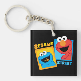 Elmo and Cookie Monster Friends Double-Sided Square Acrylic Key Ring