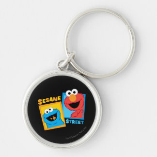 Elmo and Cookie Monster Friends Silver-Colored Round Key Ring