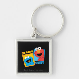 Elmo and Cookie Monster Friends Silver-Colored Square Key Ring