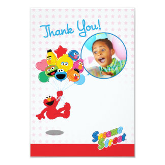 Elmo and Pals Balloons Customizable Thank You 9 Cm X 13 Cm Invitation Card
