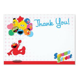 Elmo and Pals Birthday Balloons Thank You 9 Cm X 13 Cm Invitation Card