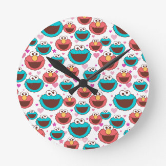 Elmo & Cookie Monster | Peace & Love Pattern Round Clock