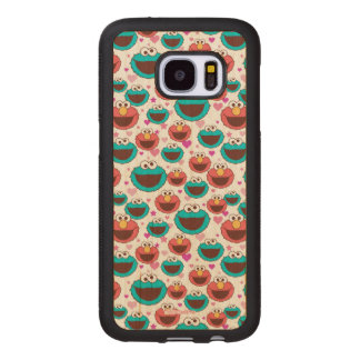 Elmo & Cookie Monster | Peace & Love Pattern Wood Samsung Galaxy S7 Case