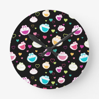 Elmo & Cookie Monster | Sweet Stuff Heart Pattern Round Clock