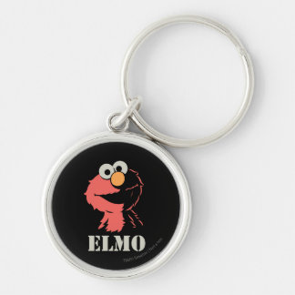 Elmo Half Silver-Colored Round Key Ring