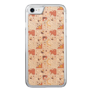 Elmo | Happy Little Monster Comic Pattern Carved iPhone 8/7 Case