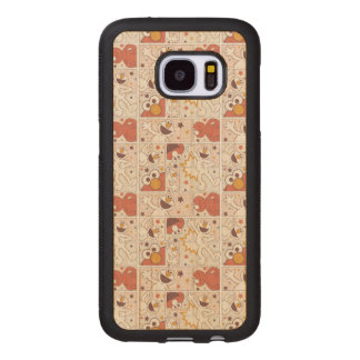 Elmo | Happy Little Monster Comic Pattern Wood Samsung Galaxy S7 Case