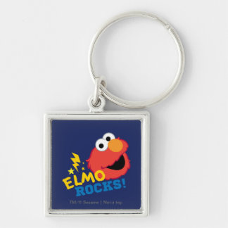 Elmo Rocks Silver-Colored Square Key Ring