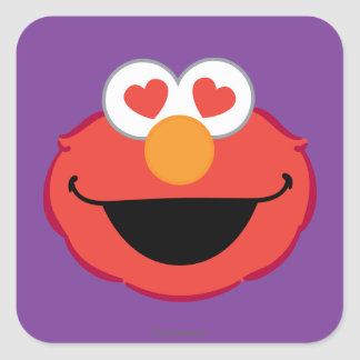Elmo Smiling Face with Heart-Shaped Eyes Square Sticker