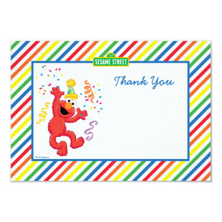 Elmo Striped Birthday Thank You Cards 9 Cm X 13 Cm Invitation Card