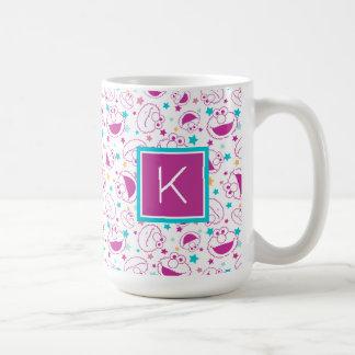Elmo   Sweet & Cute Star Pattern   Monogram Coffee Mug