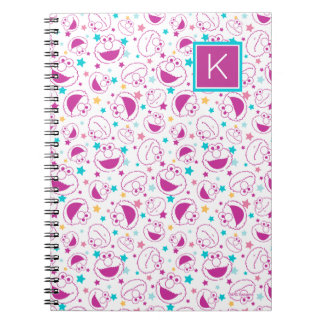 Elmo | Sweet & Cute Star Pattern | Monogram Spiral Notebook