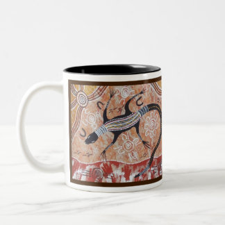 Eloi Jerra (Goanna) Dreaming with Dreamtime Story Two-Tone Coffee Mug