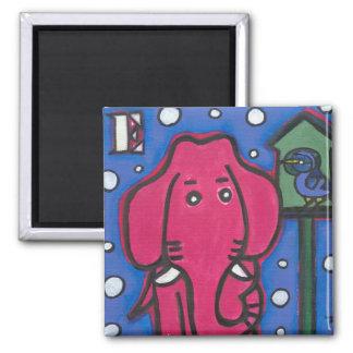 eloise the elephant loves her bird Square Magnet