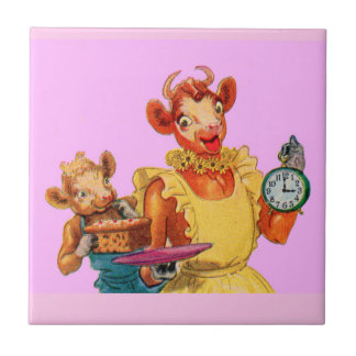 Elsie the Cow and daughter Beulah - It's Cake Time Small Square Tile