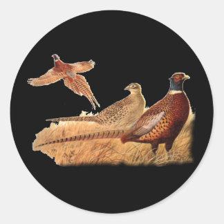 Elusive Pheasant Bird Hunting Round Sticker