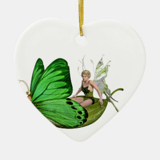 Elven Fairy on a Leaf Boat Ceramic Heart Decoration