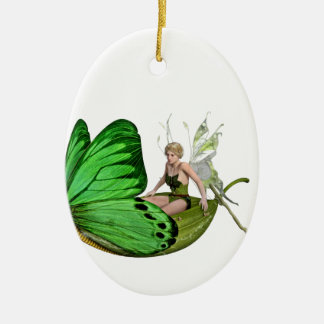Elven Fairy on a Leaf Boat Ceramic Oval Decoration
