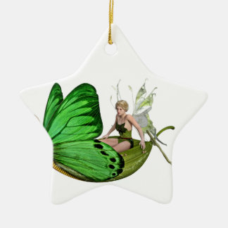 Elven Fairy on a Leaf Boat Ceramic Star Decoration