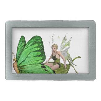 Elven Fairy on a Leaf Boat Rectangular Belt Buckles
