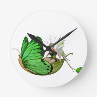 Elven Fairy on a Leaf Boat Round Clock