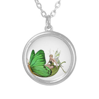 Elven Fairy on a Leaf Boat Silver Plated Necklace