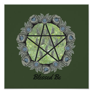 Elvenwood Pentacle Choose Your BG. Col. Altar Art Poster