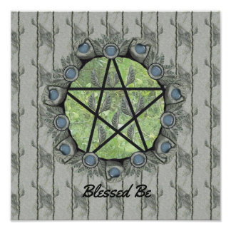 Elvenwood Pentacle Green Leaf BG. Altar Art Poster