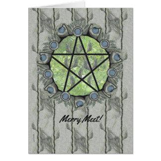 Elvenwood Pentacle Green Leaf Card