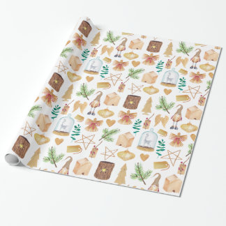 Elves Birdhouses Trees Wood Cutouts Christmas   Wrapping Paper