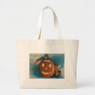 Elves Goblins Candle Jack O' Lantern Pumpkin Jumbo Tote Bag
