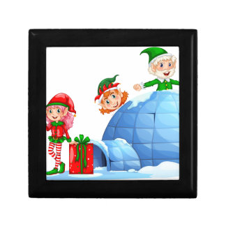 Elves playing outside the igloo small square gift box