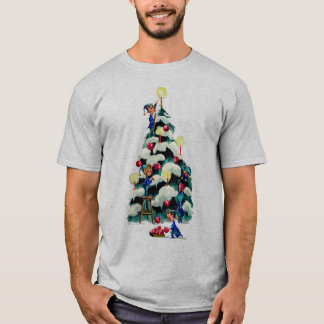 ELVES TRIMMING CHRISTMAS TREE by SHARON SHARPE T-Shirt
