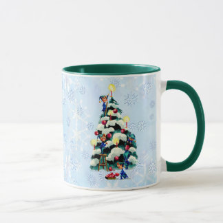 ELVES TRIMMING TREE  by SHARON SHARPE Mug