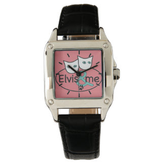 'Elvis & Me' Pink Square Watch Black Leather Strap
