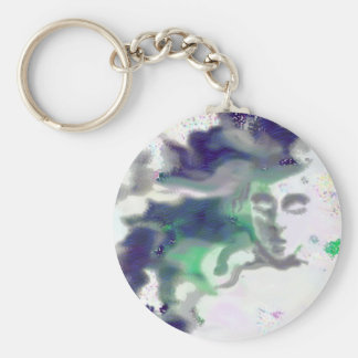 Elvish face - a digital drawing, fantasy art basic round button key ring