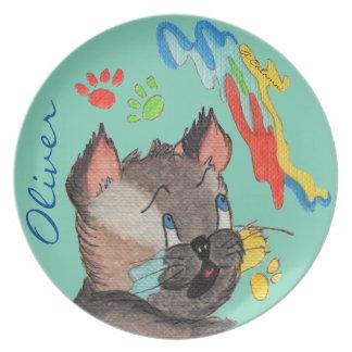 Elvis's Paw Painting Aqua Melamine Plate