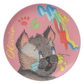 Elvis's Paw Painting Pink Melamine Plate