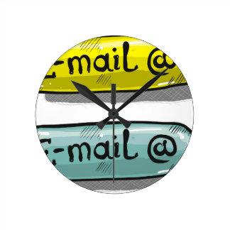 EMail Sketch Button Web Round Clock